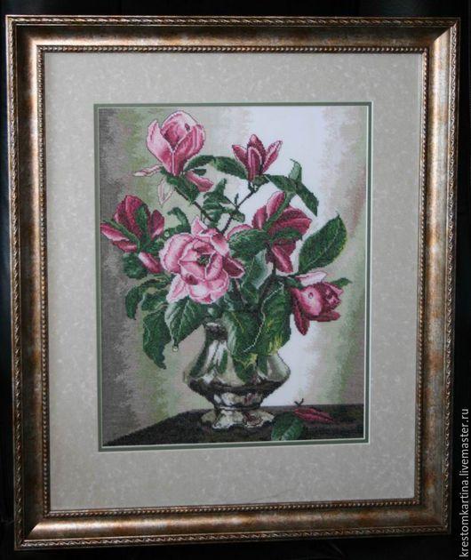 """Картины цветов ручной работы. Ярмарка Мастеров - ручная работа. Купить Вышитая картина """"Магнолии"""". Handmade. Комбинированный, картина для интерьера"""