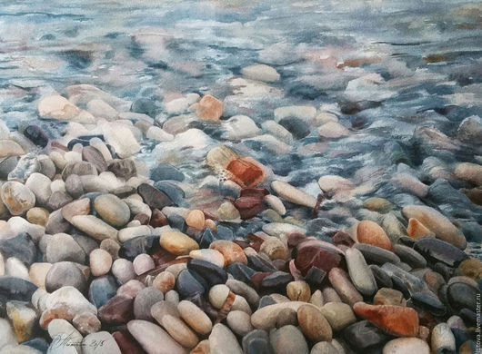 """Пейзаж ручной работы. Ярмарка Мастеров - ручная работа. Купить акварель """"Морские камушки"""". Handmade. Голубой, украшение моря, синий"""