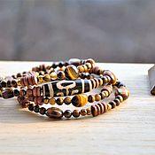 Bead bracelet handmade. Livemaster - original item Aristocrat-multi-row bracelet with tiger eye and JI bead. Handmade.