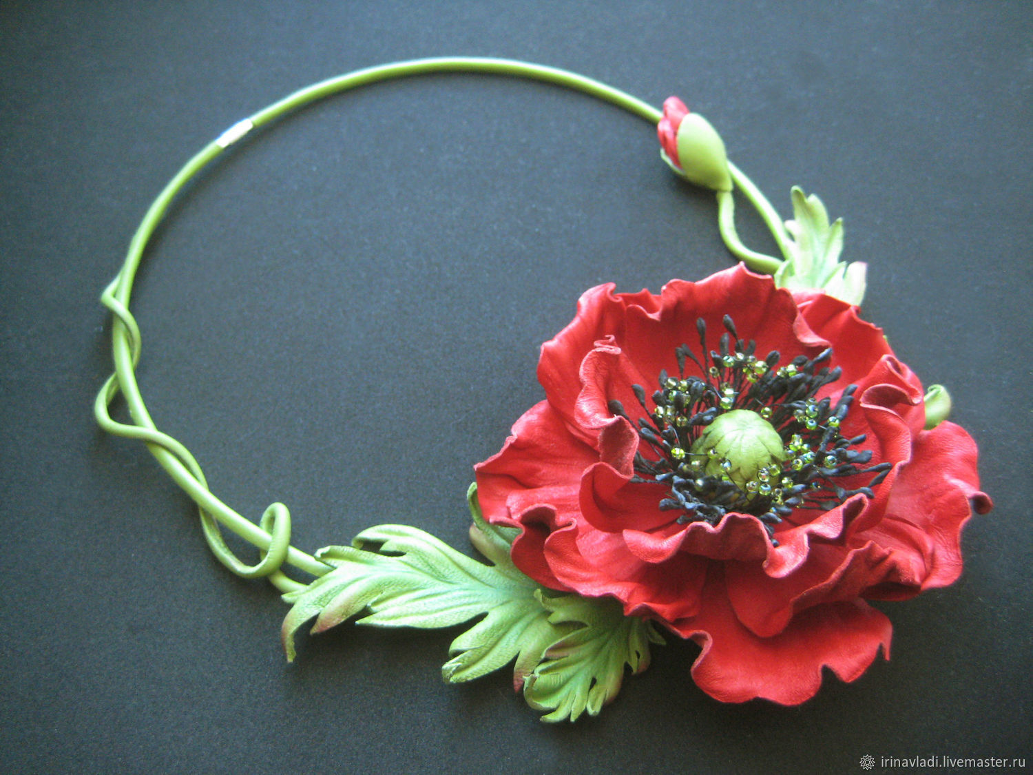 Leather Accessoriesjewelry Leather Flower Necklace Red Poppies
