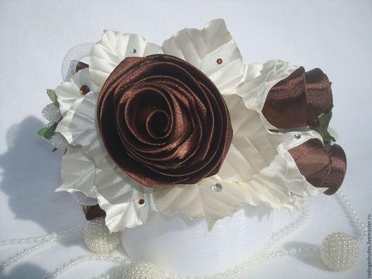 """Диадемы, обручи ручной работы. Ярмарка Мастеров - ручная работа. Купить Ободок """"Шоколад и ваниль"""". Handmade. Коричневый, ободок с розами"""