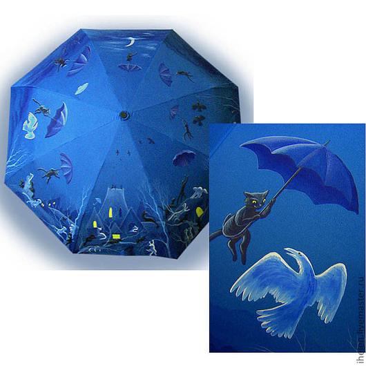 """Зонты ручной работы. Ярмарка Мастеров - ручная работа. Купить Зонт """"Кот и синее небо"""". Handmade. Синий, сказка, полет"""