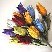 Цветы и флористика handmade. Livemaster - original item Flowers Tulips felted from wool Natural size Easy price. Handmade.
