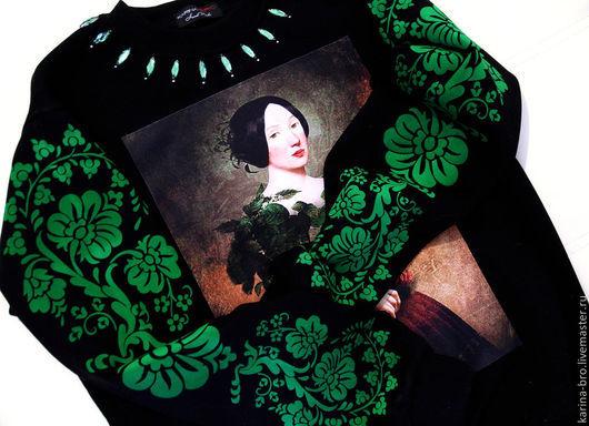 """Кофты и свитера ручной работы. Ярмарка Мастеров - ручная работа. Купить Свитшот """"Изумруд"""". Handmade. Черный, женская одежда, растения"""