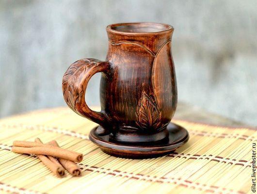 глиняная кружка глиняная чашка в подарок чашка с блюдцем кофейная чашка  авторская кружка авторская чашка чашка для кофе необычная кружка оригинальная кружка чашка керамика кружка из глины чайная пара глиняная посуда