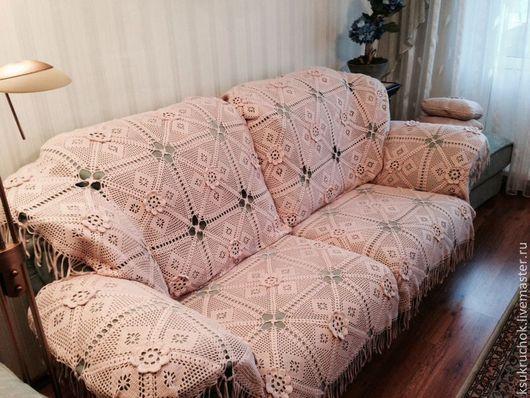 """Текстиль, ковры ручной работы. Ярмарка Мастеров - ручная работа. Купить вязанный плед-накидка """"диванная шаль"""". Handmade. Бежевый"""