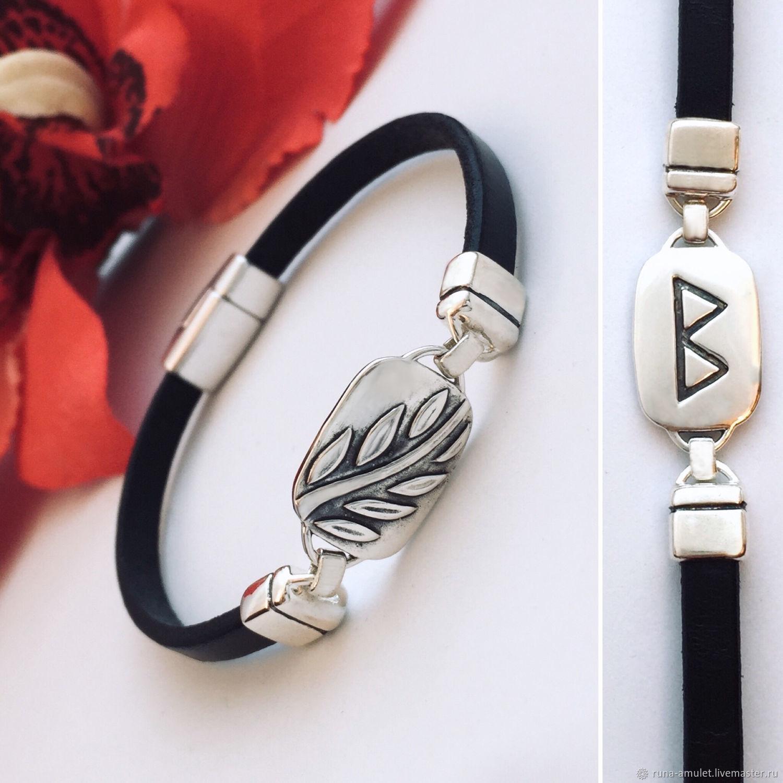Bracelet with the rune berkana - femininity, peace in the family. Silver, leather, Hard bracelet, Moscow,  Фото №1