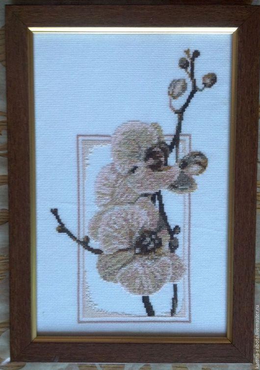 Картины цветов ручной работы. Ярмарка Мастеров - ручная работа. Купить Орхидеи. Handmade. Вышивка, картина в подарок, ручная работа
