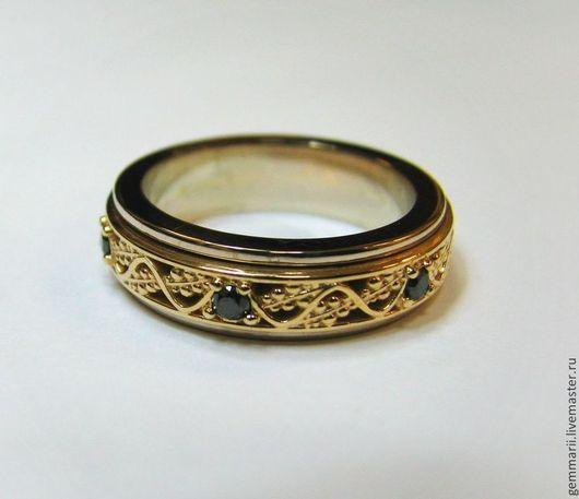 Кольцо со вращающимся центром. Выполнено в белом и жёлтом золоте. Черные бриллианты. Так же можете посмотреть работы на моем сайте: www.gemmarii.ru