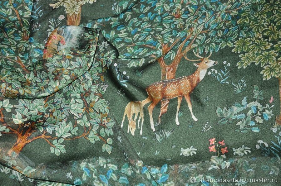 Шифон с оленями Alberta Ferretti, Ткани, Москва,  Фото №1