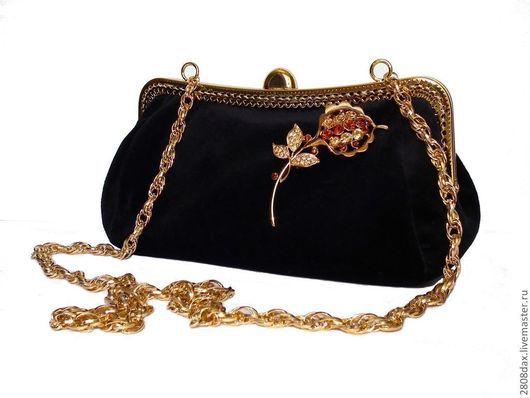 """Женские сумки ручной работы. Ярмарка Мастеров - ручная работа. Купить Вечерняя сумочка """"Классика"""", бархат, черная сумочка, клатч. Handmade."""