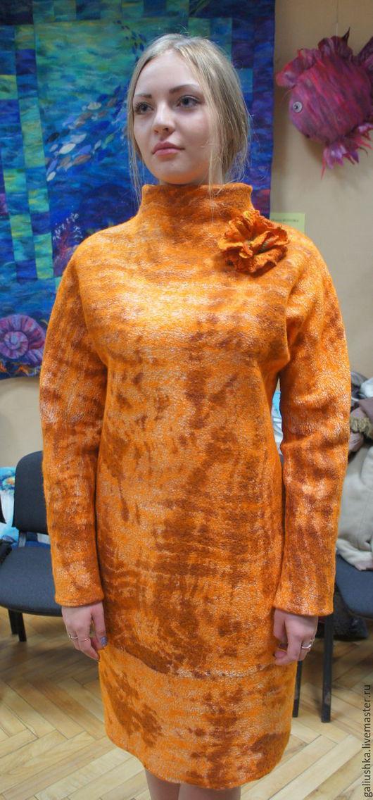 Платья ручной работы. Ярмарка Мастеров - ручная работа. Купить Валяное платье Оранжевое. Handmade. Валяное, рыжый, платье коктейльное