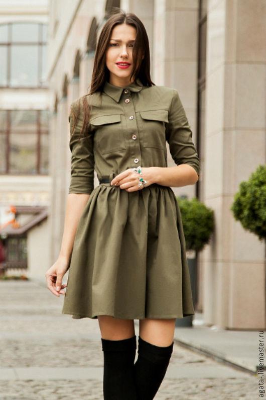 Платья ручной работы. Ярмарка Мастеров - ручная работа. Купить Платье рубашка. Handmade. Комбинированный, хаки, модный тренд