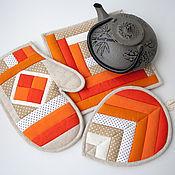 Для дома и интерьера ручной работы. Ярмарка Мастеров - ручная работа Комплект для кухни Оранжевое Настроение. Handmade.