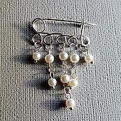Украшения handmade. Livemaster - original item A miniature safety pin handmade with pearls.. Handmade.
