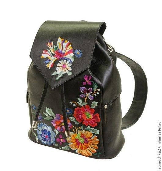"""Рюкзаки ручной работы. Ярмарка Мастеров - ручная работа. Купить Рюкзак из натуральной кожи """"Цветы"""". Handmade. Черный, рюкзак из кожи"""