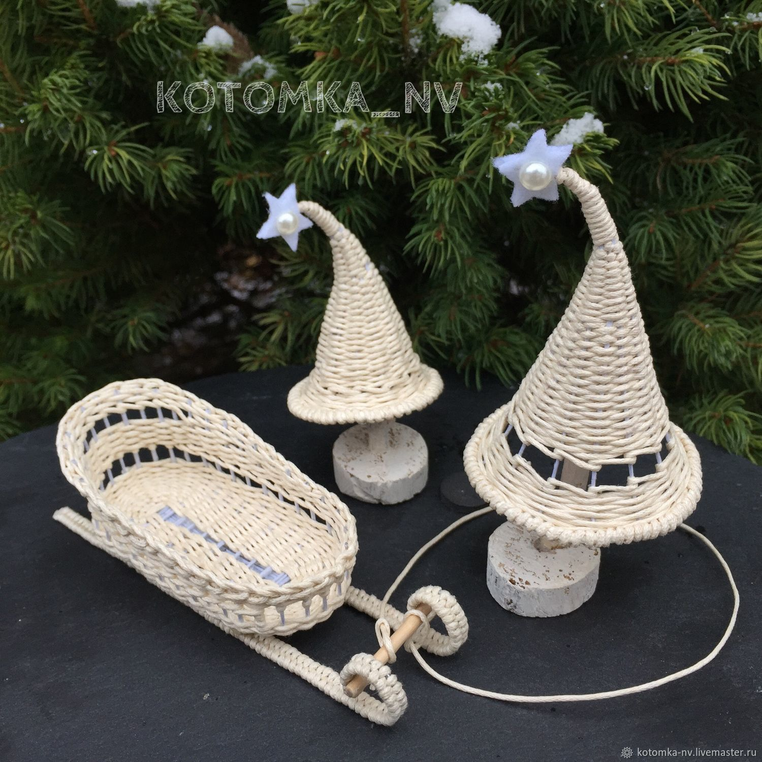 Christmas trees and sleigh braided - doll miniature, accessories for dolls #kotomka_nv_NY006 - two Christmas trees, sledge - a set of Christmas toys