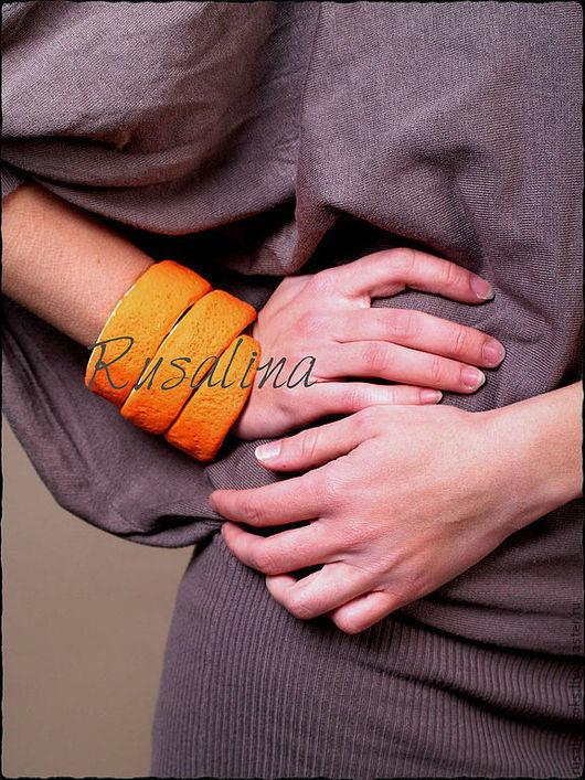 Браслеты ручной работы. Ярмарка Мастеров - ручная работа. Купить Браслет - апельсиновая кожура. Handmade. Оранжевый, апельсиновый