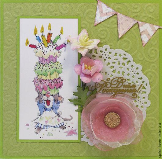 """Открытки на день рождения ручной работы. Ярмарка Мастеров - ручная работа. Купить Открытка """"С днем рождения"""". Handmade. Разноцветный"""