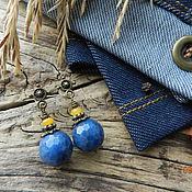 """Украшения ручной работы. Ярмарка Мастеров - ручная работа """"Jeans. Аutumn"""" серьги-гвоздики (агат, нефрит). Handmade."""