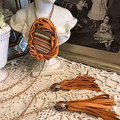Украшения handmade. Livemaster - original item Bolo tie ORANGE SKY (Leather, agate). Handmade.