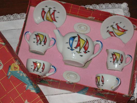 Винтажная посуда. Ярмарка Мастеров - ручная работа. Купить винтажныи набор кукольнои керамическои посуды. Handmade. Разноцветный, керамика