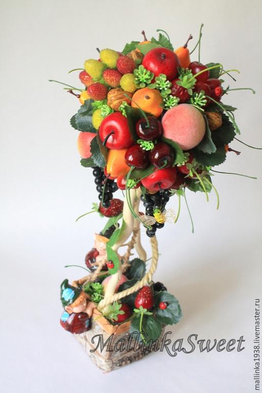 """Деревья ручной работы. Ярмарка Мастеров - ручная работа. Купить Топиарий, дерево счастье """"Фруктовый смузи"""". Handmade. Ярко-красный"""
