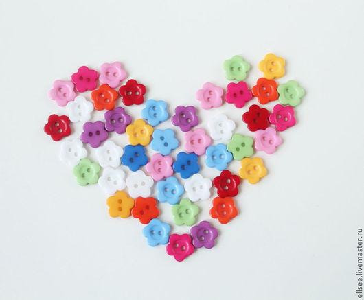 Шитье ручной работы. Ярмарка Мастеров - ручная работа. Купить Пуговки цветочки 11 мм набор. Handmade. Пуговицы