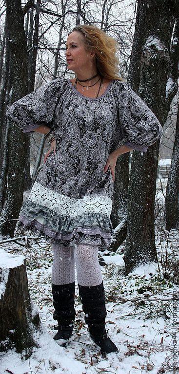 """Трикотажное бохо-платье """"Пепел и алмаз"""", Платья, Саров,  Фото №1"""