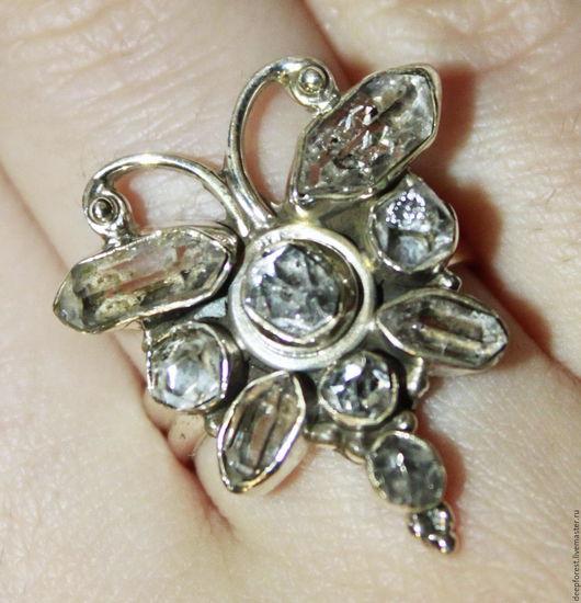 """Кольца ручной работы. Ярмарка Мастеров - ручная работа. Купить Кольцо редкий Херкимерский алмаз """"Белая бабочка"""". Handmade."""