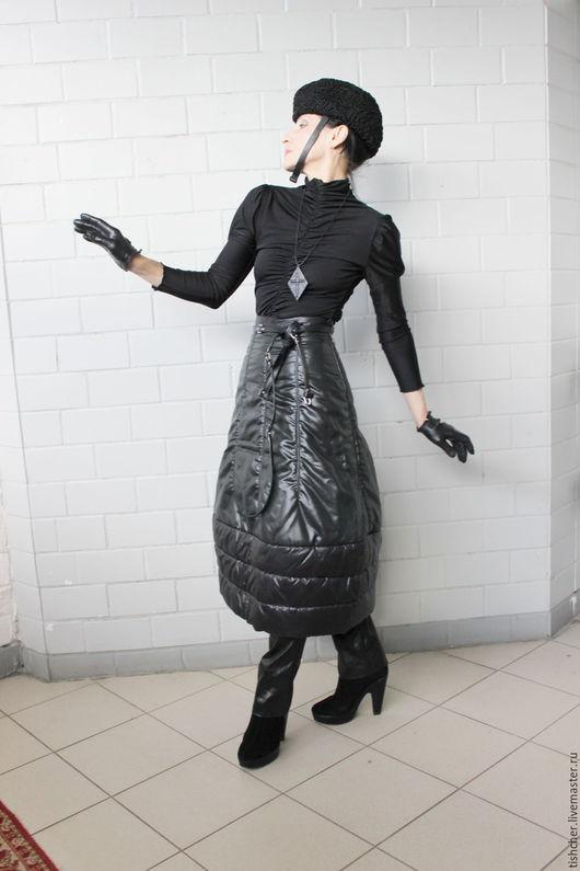 """Юбки ручной работы. Ярмарка Мастеров - ручная работа. Купить Юбка из ткани лаке """"Надувная"""". Handmade. Черный, юбка надувная"""