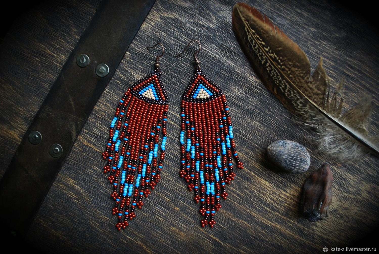 Серьги из бисера в индейском стиле длинные серьги кисти, Серьги-кисти, Москва,  Фото №1
