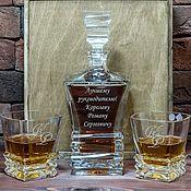 Наборы ручной работы. Ярмарка Мастеров - ручная работа Набор для виски в подарочной деревянной коробке с гравировкой. Handmade.