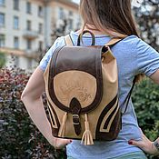 Сумки и аксессуары handmade. Livemaster - original item Backpack women`s leather brown beige Xanthi Mod R50-652-2. Handmade.