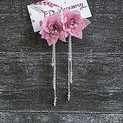 Серьги классические ручной работы. Ярмарка Мастеров - ручная работа Серьги с цветами из шифона. Handmade.