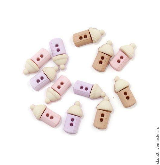 Открытки и скрапбукинг ручной работы. Ярмарка Мастеров - ручная работа. Купить Набор пуговиц бутылочки розовые, сиреневые, песочные. Handmade.