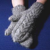 Аксессуары handmade. Livemaster - original item Double women`s knitted mittens. Handmade.