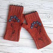 Аксессуары handmade. Livemaster - original item Mitts, knitted forget-me-not. Handmade.