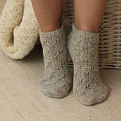 Аксессуары handmade. Livemaster - original item Openwork socks thin grey