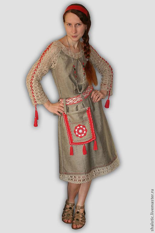 Платья ручной работы, летнее платье в русском стиле стиле, платье с кружевом,  , автор Юлия Льняная сказка