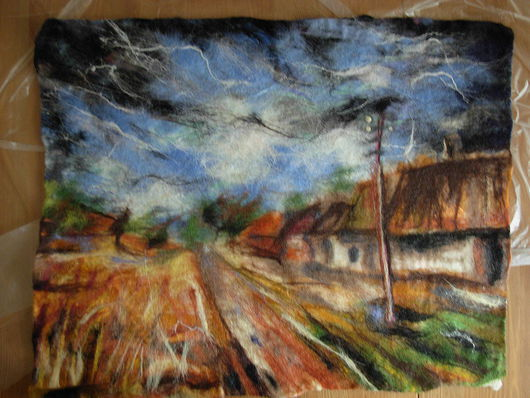 """Пейзаж ручной работы. Ярмарка Мастеров - ручная работа. Купить Картина """"По мотивам..."""". Handmade. Мокрое валяние"""