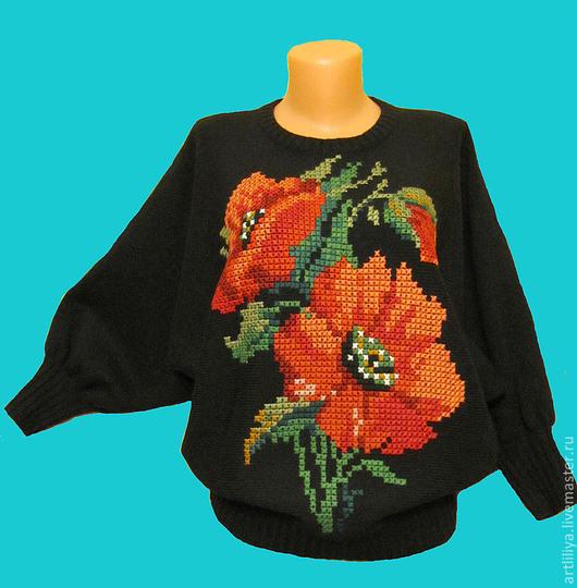 Кофты и свитера ручной работы. Ярмарка Мастеров - ручная работа. Купить джемпер вязаный женский  Красные маки с вышивкой. Handmade.