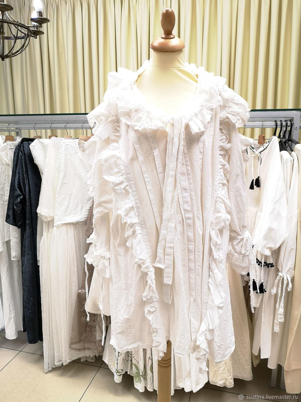 Дизайнерская белая блуза с рюшами из испанского хлопка, Блузки, Пермь,  Фото №1