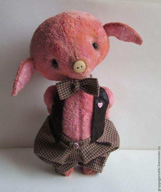 Мишки Тедди ручной работы. Ярмарка Мастеров - ручная работа. Купить Поросенок Тедди Бабочка. Плюшевая игрушка. Handmade.