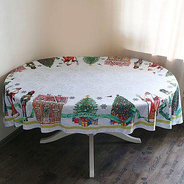 """Текстиль ручной работы. Ярмарка Мастеров - ручная работа Скатерть овальная """"Новогодняя лента"""". Handmade."""
