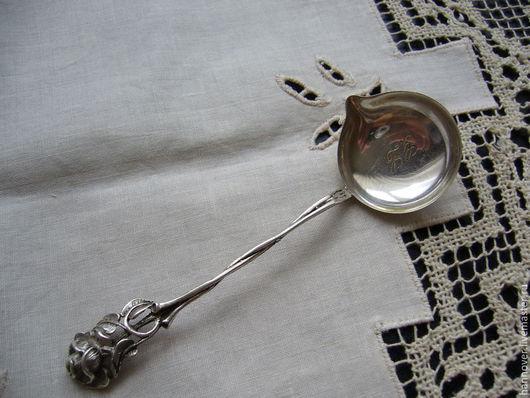 Винтажная посуда. Ярмарка Мастеров - ручная работа. Купить Старинный серебряный половник для соуса немецкого дизайна «Hanauer Ros. Handmade.