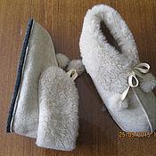"""Обувь ручной работы. Ярмарка Мастеров - ручная работа Тапочки с отворотом."""" Сахара"""". Handmade."""