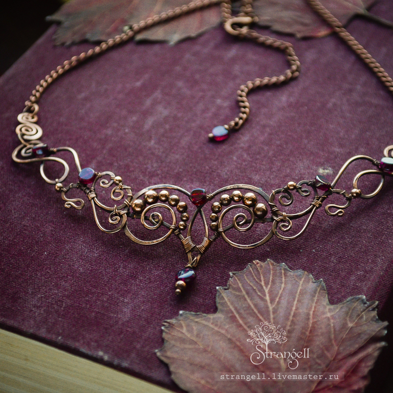 Necklaces & Beads handmade. Livemaster - handmade. Buy Copper necklace with garnet, vintage wire wrap, Gothic Victorian.