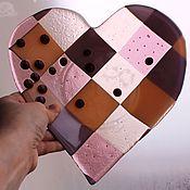 """Посуда ручной работы. Ярмарка Мастеров - ручная работа Тарелка """"Розовое сердце""""  стекло. Handmade."""