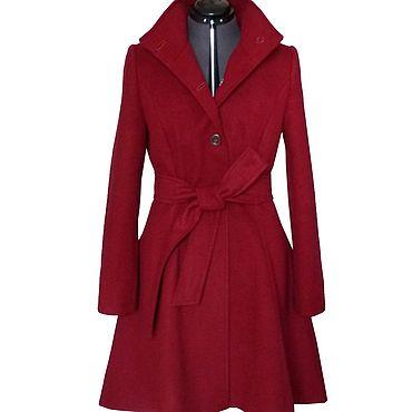 Одежда ручной работы. Ярмарка Мастеров - ручная работа Пальто расклешонное, воротник стойка, бордо. Handmade.